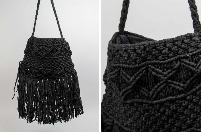 Bolso textil con detalle de flecos