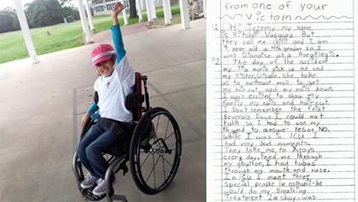 Carta de una niña al conductor que la dejó paralítica