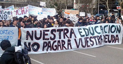 Protestas de los universitarios por los recortes