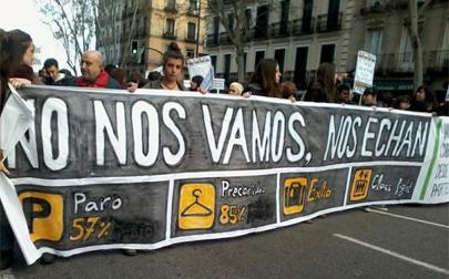 Los jóvenes españoles protestan en varias capitales europeas por su exilio forzoso