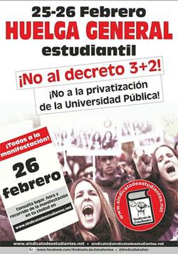 El Sindicato de Estudiantes convoca huelga los días 25 y 26 de febrero