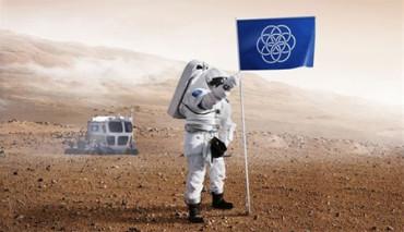 Un estudiante diseña una bandera del planeta Tierra