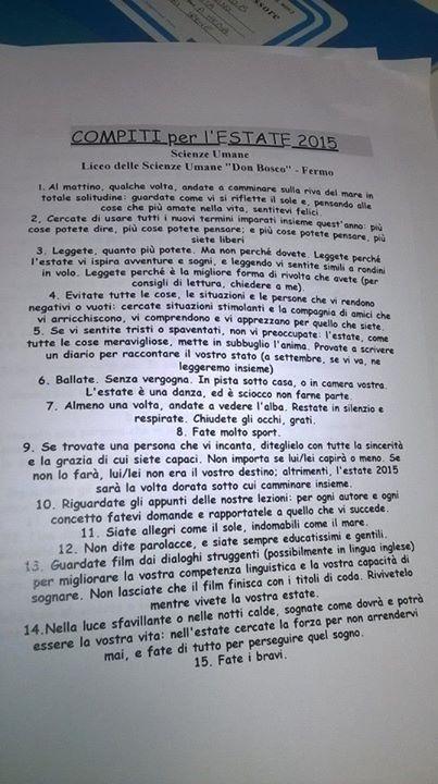 Los curiosos deberes de verano que un profesor ha mandado a sus alumnos