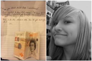 Universitaria recibe una nota anónima con 20 libras para animarle con sus estudios