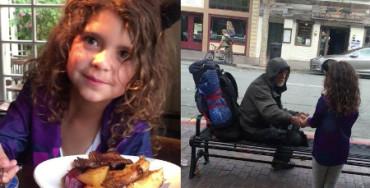 Niña conmueve las redes sociales al regalar su comida a un indigente